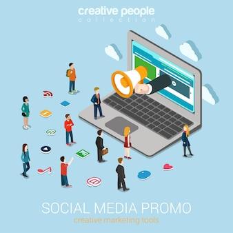 Маркетинг в социальных сетях онлайн-продвижение плоский 3d веб