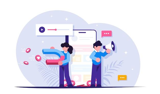 소셜 미디어 마케팅. 확성기와 자석을 가진 사람들이 콘텐츠에 사용자의 관심을 끌고 있습니다.