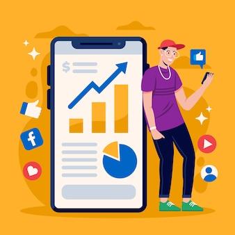 Social media marketing on phone design