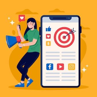 Social media marketing on phone theme