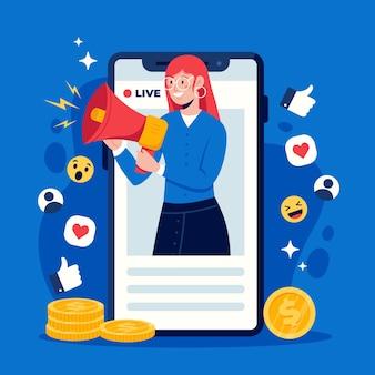 Social media marketing on phone