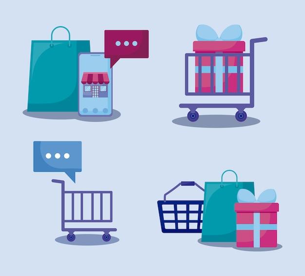 Social media marketing set icons