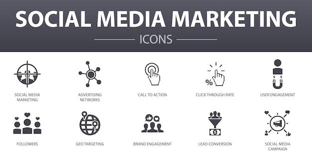 Набор иконок простой концепции маркетинга в социальных сетях. содержит такие значки, как взаимодействие с пользователем, подписчики, призыв к действию, преобразование потенциальных клиентов и многое другое, может использоваться для веб-сайтов, логотипов, пользовательского интерфейса / пользовательского интерфейса.