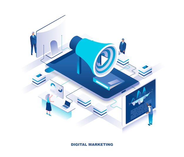 Social media marketing or smm, digital advertising isometric concept