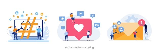 Social media marketing strategy concept, like, email, tags. flat vector illustration