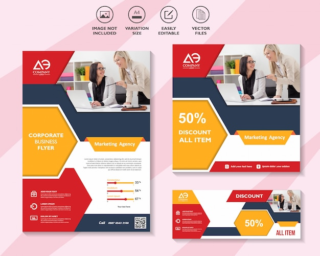 Social media marketing template brochure business flyer