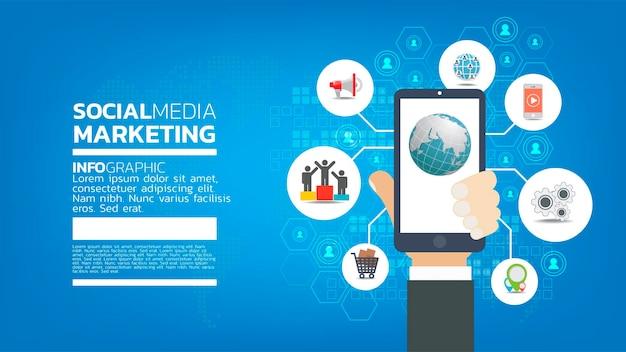 絵文字、ウェブページ、検索アイコン、チャット、スマートフォンでチャートを使用したソーシャルメディアマーケティングテンプレートのコンセプト