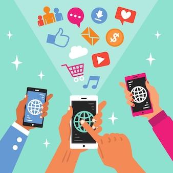 Tema di social media marketing con il telefono