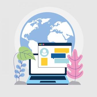 Social media marketing with laptop