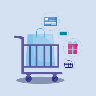Social media marketing with shopping cart