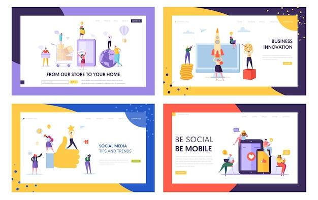 ソーシャルメディアモバイルのヒントとトレンドのランディングページセット。