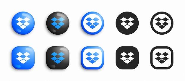 ソーシャルメディアのモダンな3 dとフラットアイコンセット