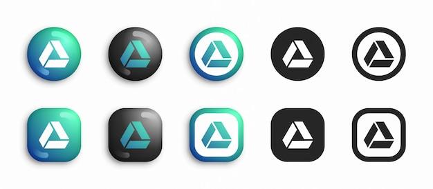 소셜 미디어 현대 3d 및 평면 아이콘 설정