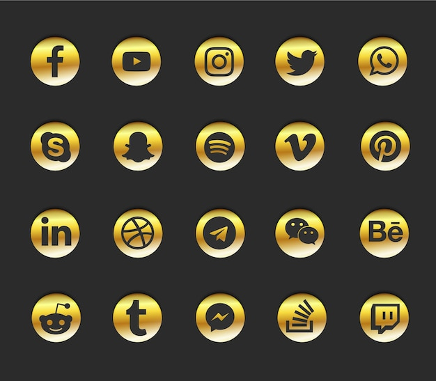 소셜 미디어 현대 아이콘 세트