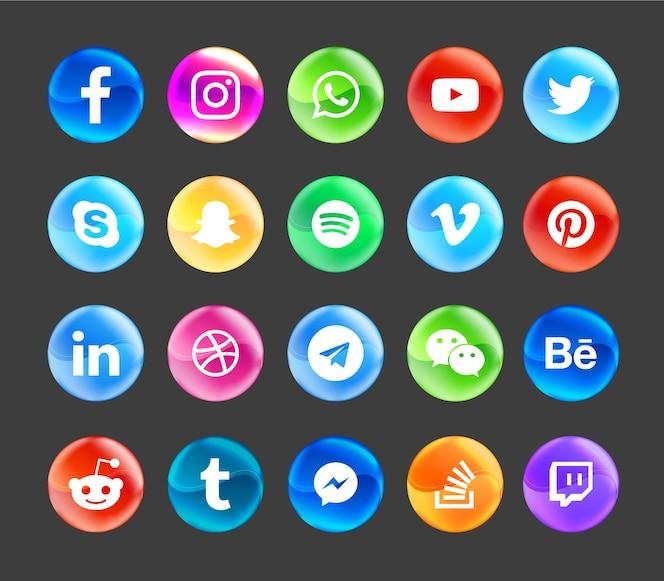 social media modern icons set