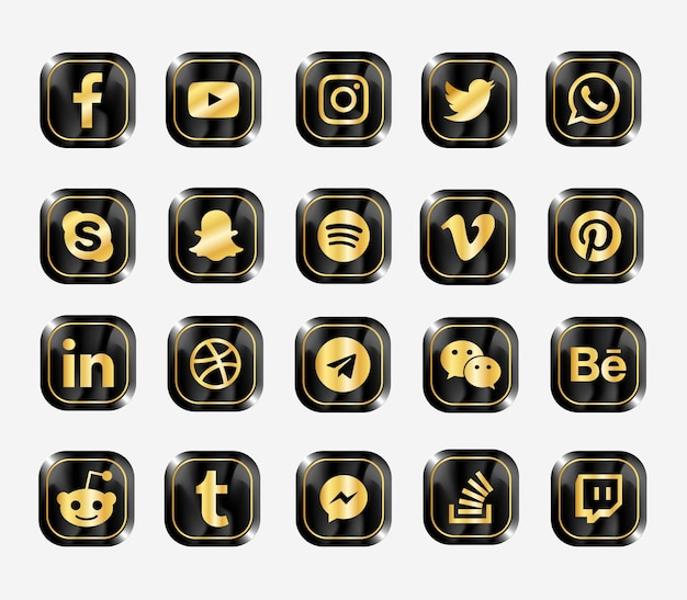 Social media modern  web icons set