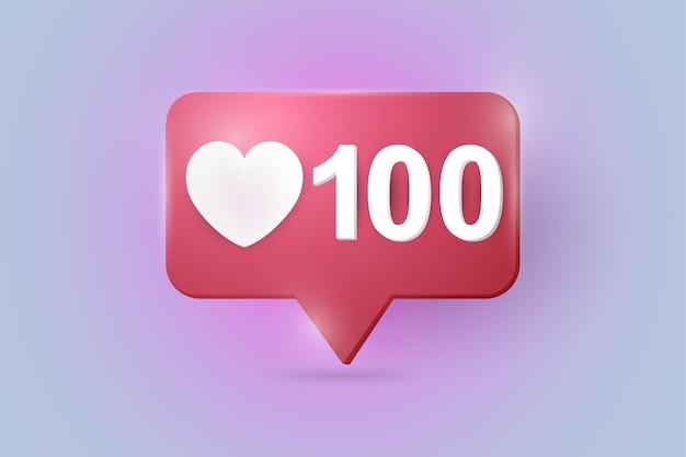 Social media network 100 love like heart illustration