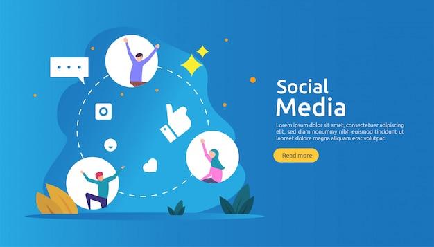 평면 스타일의 젊은이 캐릭터와 소셜 미디어 네트워크 및 영향력있는 개념