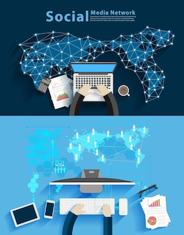 소셜 미디어 네트워크, 기술 Backgroun에 대 한 컴퓨터에서 작업하는 사업가 프리미엄 벡터