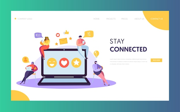 Social media network character chat landing page design