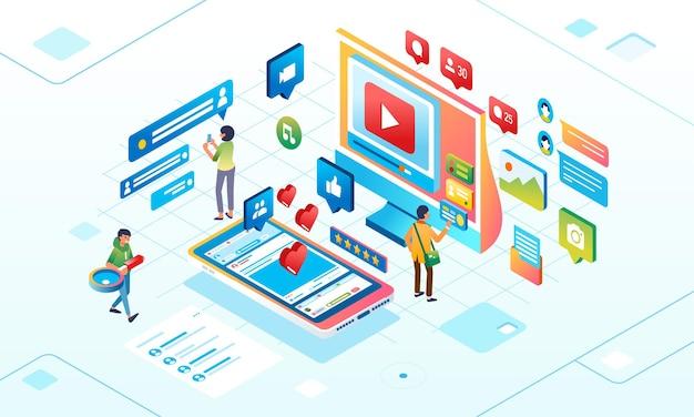 Сеть социальных сетей для цифровых людей, которые взаимодействуют онлайн в социальных сетях