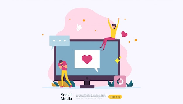 Social media network and influencer concept with young people character in flat style