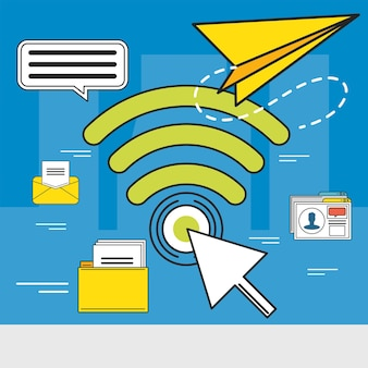 Social media network internet clicking Premium Vector
