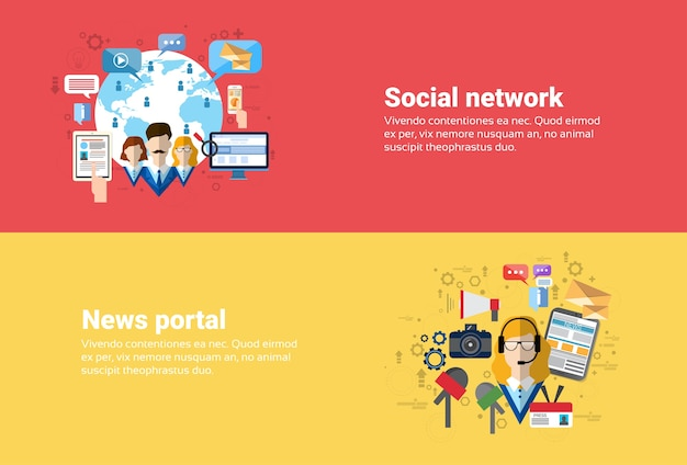 Social media network internet connection communication, news portal application web banner flat vect