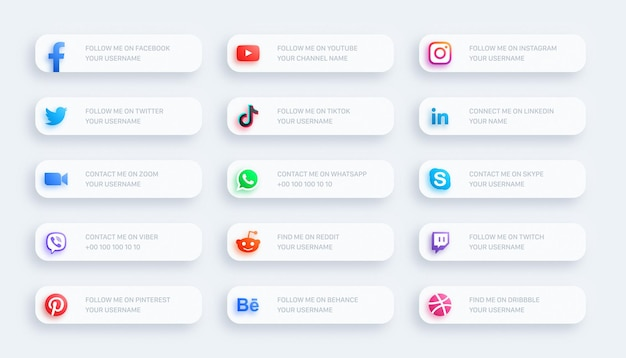Social media network lower third glowing icons 3d banner set on light background