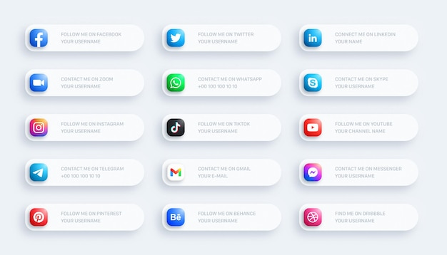 Social media network lower third rounded icons 3d banner set on light background