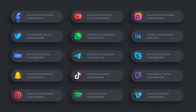 Social media network modern lower third glowing icons 3d banner set on dark background