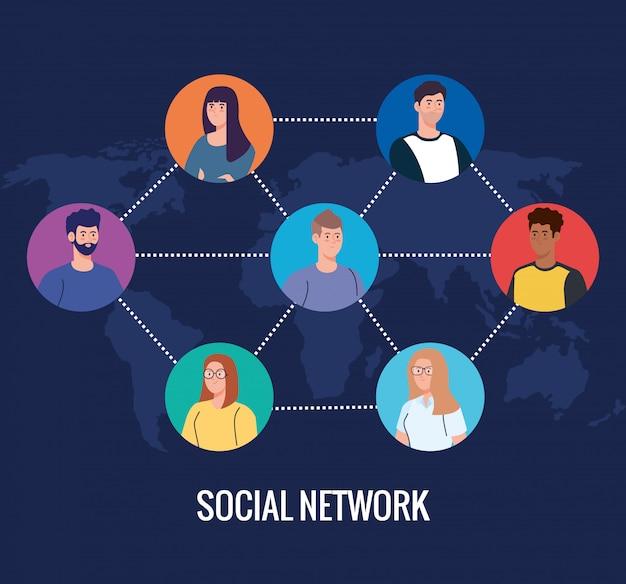 소셜 미디어 네트워크, 디지털, 인터랙티브, 커뮤니케이션 및 글로벌 개념에 연결된 사람들