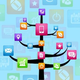 ベクトルソーシャルメディアネットワークツリー