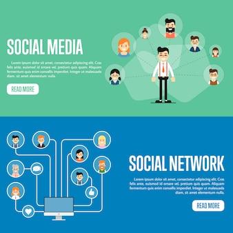 소셜 미디어 네트워크 웹 사이트 배너 세트