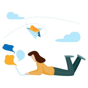 소셜 미디어 네트워크 통신 개념입니다. 대화, 채팅, 커뮤니케이션.