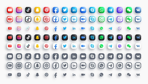 Social media networks and messengers 3d color and monochrome rounded modern icons set in different variations