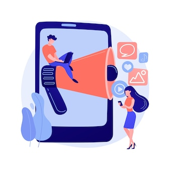 ソーシャルメディアのニュースとヒント抽象的な概念ベクトルイラスト。ソーシャルメディアマーケティング、アルゴリズムニュース、プロモートプロフィール、エンゲージメントのヒント、最新のアップデート、コンテンツアドバイスの抽象的なメタファー。