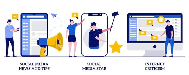 ソーシャル メディアのニュースとヒント、ソーシャル メディアのスター、インターネットの批評。デジタルコンテンツ、インフルエンサーセット Premiumベクター