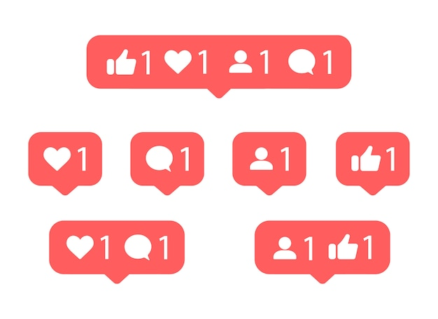 Social media notification icon. like, thumbs up, comment, follower.