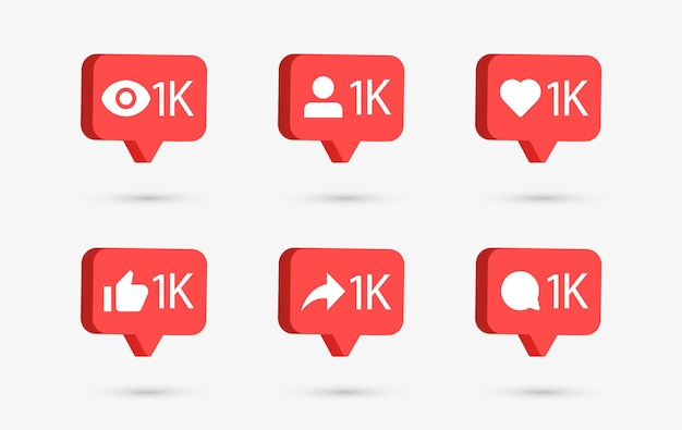 Social media notification icons in 3d speech bubbles like love comment share follower seen