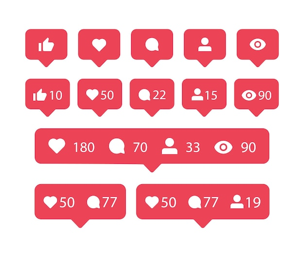 愛のコメント共有フォロワーのようなinstagramの吹き出しのソーシャルメディア通知アイコンが見られます