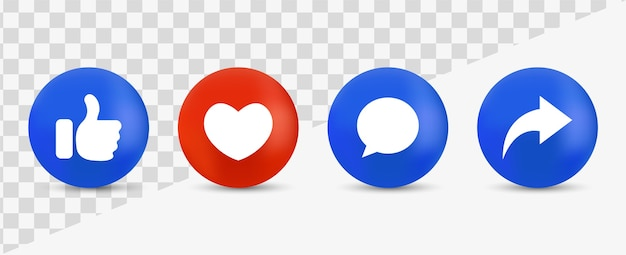 Social media notification icons like love comment buttons