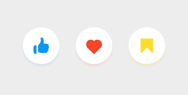 Значки уведомлений в социальных сетях, такие как любовь, сохраняют символы в круглых кнопках в современном круге