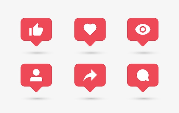 Social media notification icons in speech bubbles like love comment share follower seen