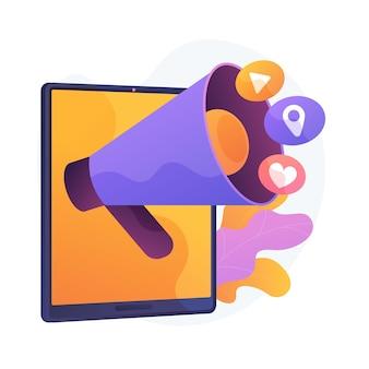 소셜 미디어 알림. 온라인 네트워크, 스마트 폰, 멀티미디어 앱 아이콘. 격리 된 평면 디자인 요소를 업데이트하는 현대 가제트 응용 프로그램입니다.