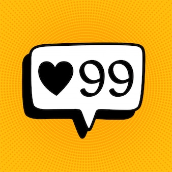 Social media notification sign icon in comic style. like, comment, follow vector cartoon illustration on yellow halftone.