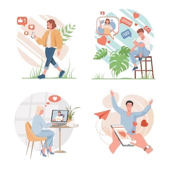 ソーシャルメディアや出会い系アプリケーションのデザインコンセプト。幸せな男性と女性がインターネットを使用して互いにフラットイラストと通信します。いいね、チャット、インターネットで話す人々。