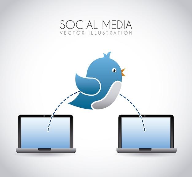 Социальных медиа на сером фоне векторных иллюстраций