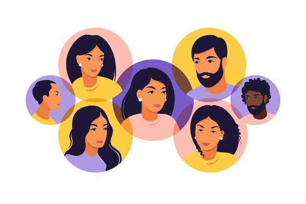 소셜 미디어 사람들 연결 개념. 삽화. 플랫.