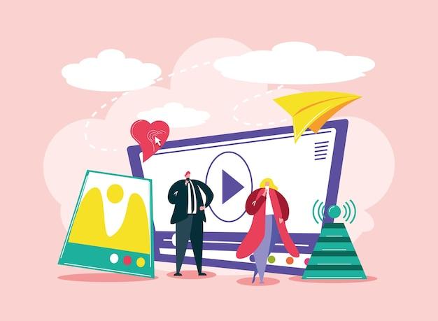 소셜 미디어 사람들 기술 비디오